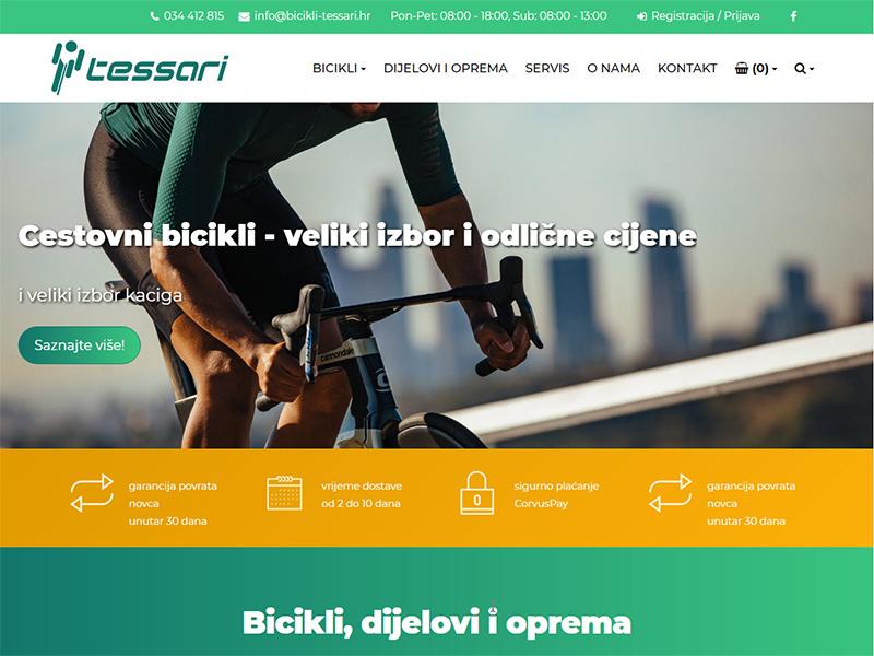 Tessari - Bicikli, Dijelovi i oprema, Prodaja i servis